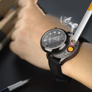 Men's Windproof and Flameless Rechargeable Watch Lighter