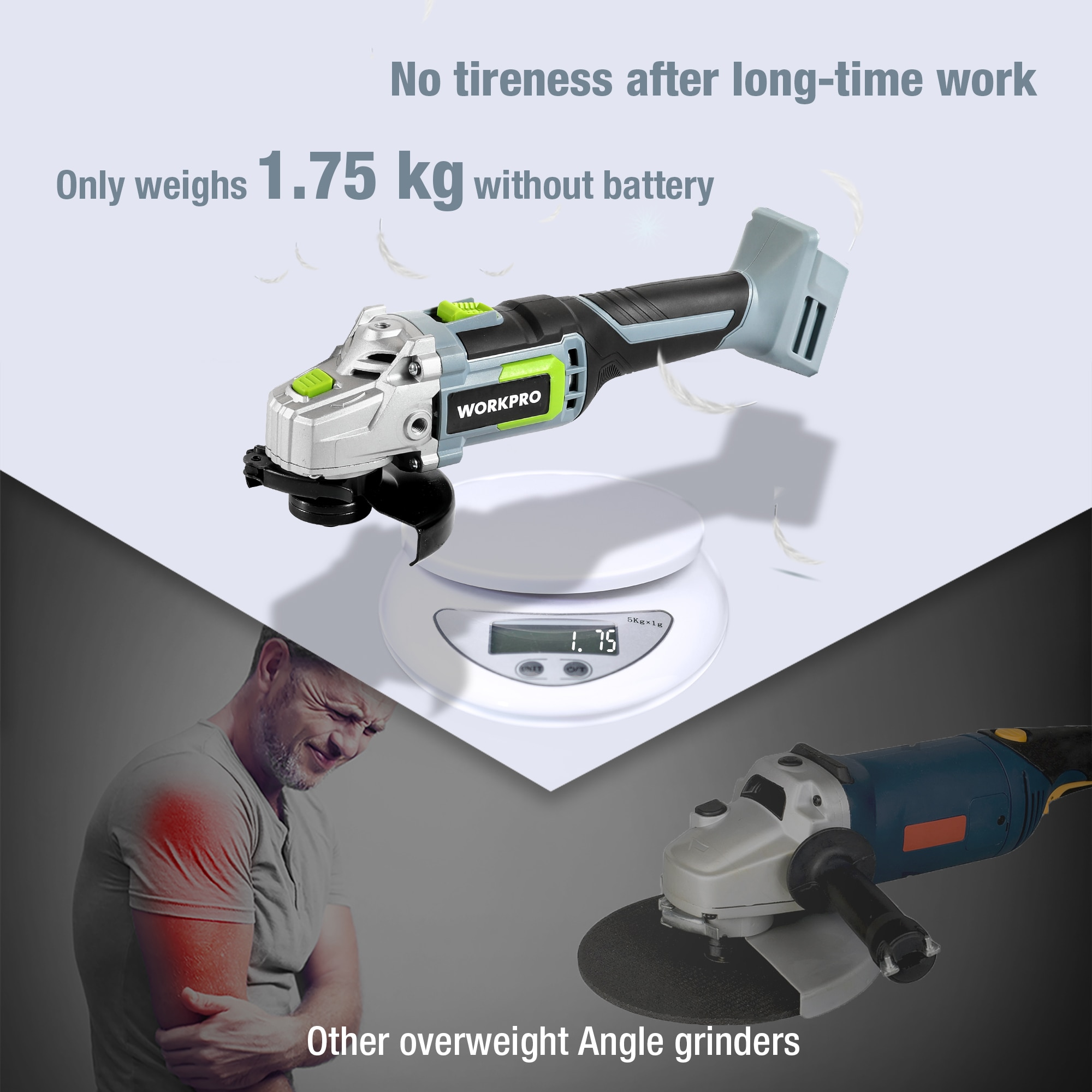 WORKPRO 20V Lithium-ion Cordless Angle Grinder 4