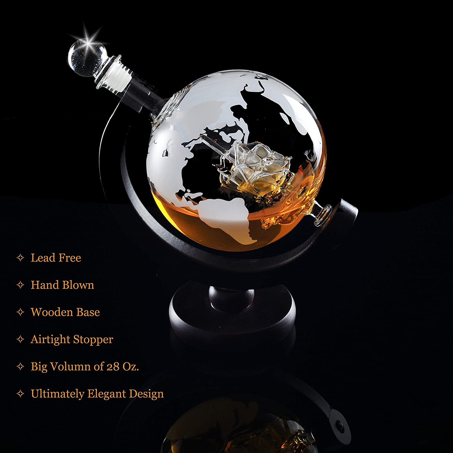 Creative Globe Decanter Set with Lead-free Carafe 2