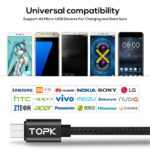 TOPK 1M(3.28ft) Micro USB Data Charging LED Digital Voltage and Current Display Nylon Braided USB Cable For Samsung Xiaomi LG 5