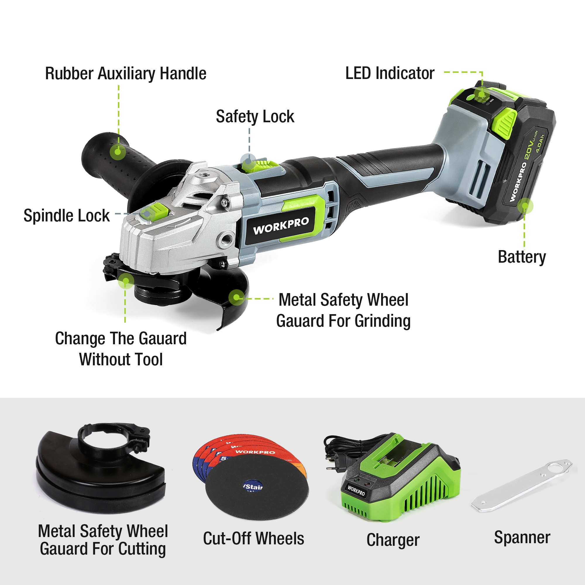 WORKPRO 20V Lithium-ion Cordless Angle Grinder 2