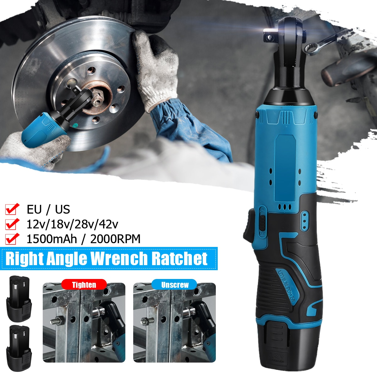 12V Electric Wrench 3/8 Cordless Ratchet 2