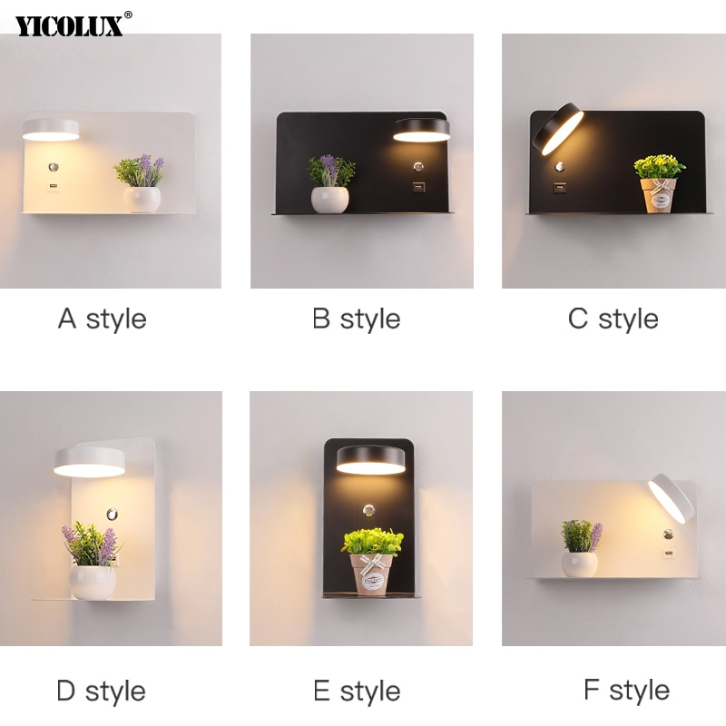 LED Wall Lights With Switch And USB 5