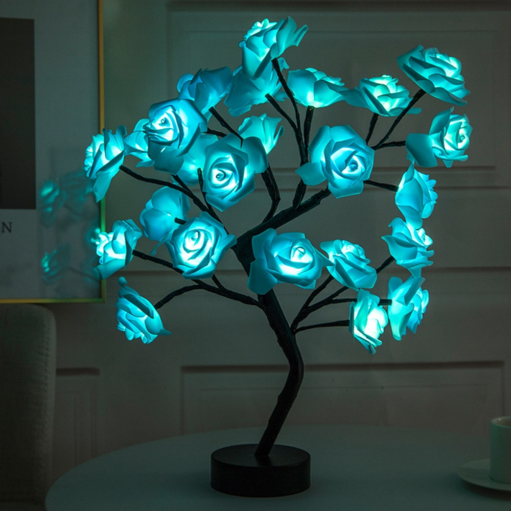 LED Table Lamp Rose Flower Tree USB Night Lights Christmas Decorations For Home LED Table Lights Home Party Decoration 2