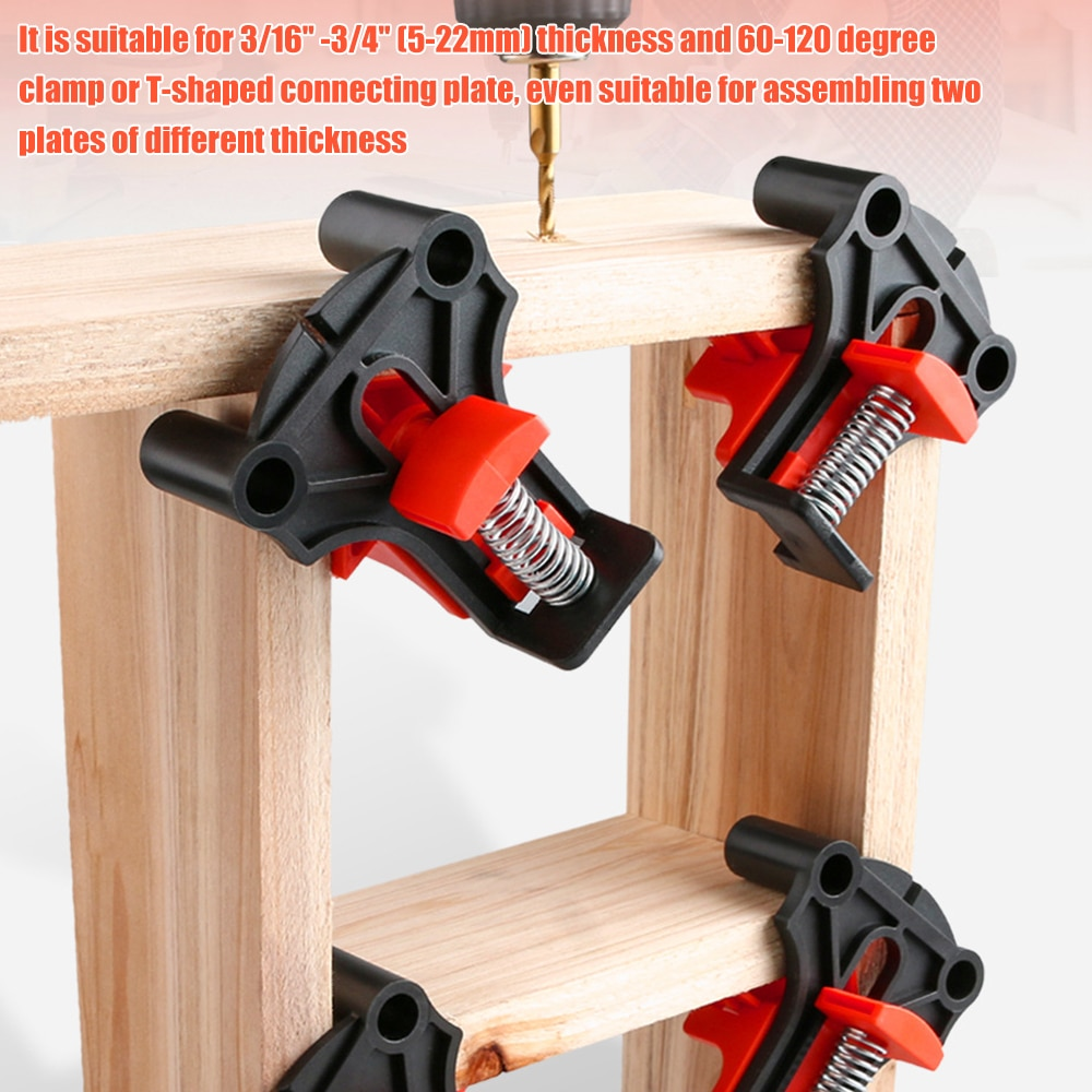 4pcs Wood Angle Clamps 60/90/120 Degrees Woodworking Corner ClampRight Clips DIY Fixture Hand Tool Set for Taper,T Joints,Plate 3