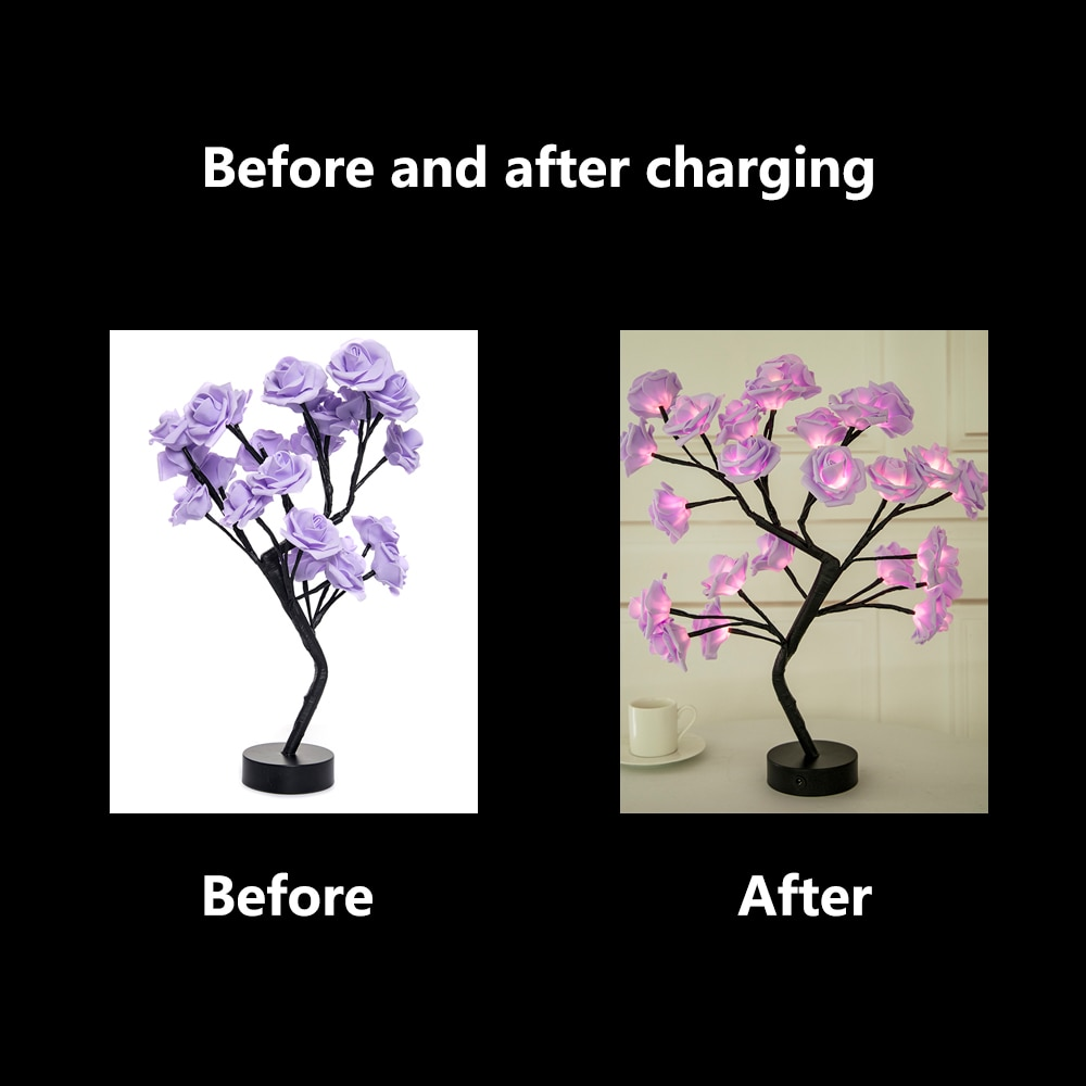LED Table Lamp Rose Flower Tree USB Night Lights Christmas Decorations For Home LED Table Lights Home Party Decoration 3