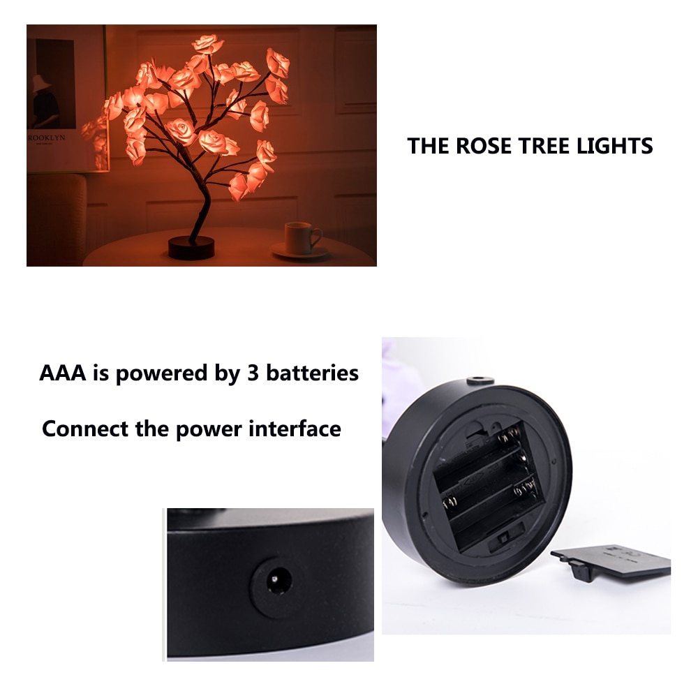 LED Table Lamp Rose Flower Tree USB Night Lights Christmas Decorations For Home LED Table Lights Home Party Decoration 6
