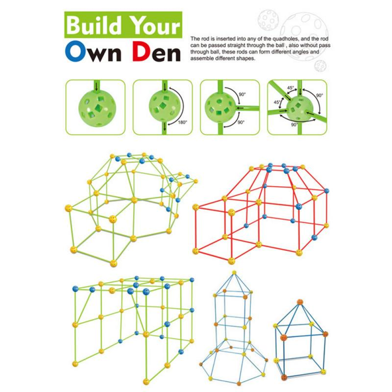 Kids Construction Toys Fort Tent Building Kits 2