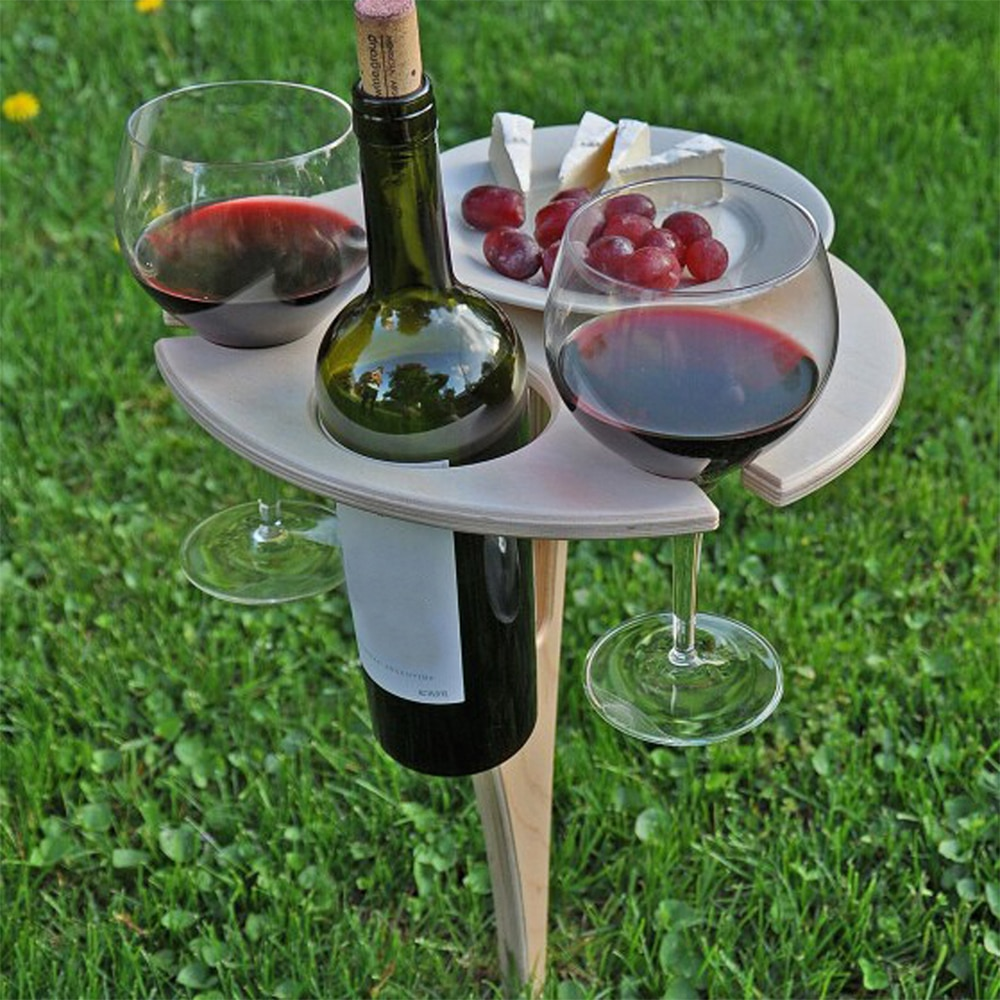 Foldable Outdoor Wine Table With Round Desktop 1