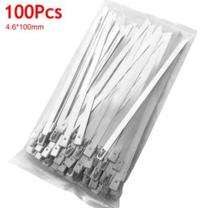 100Pcs Stainless Steel Cable Ties 4.6mm Heavy Duty