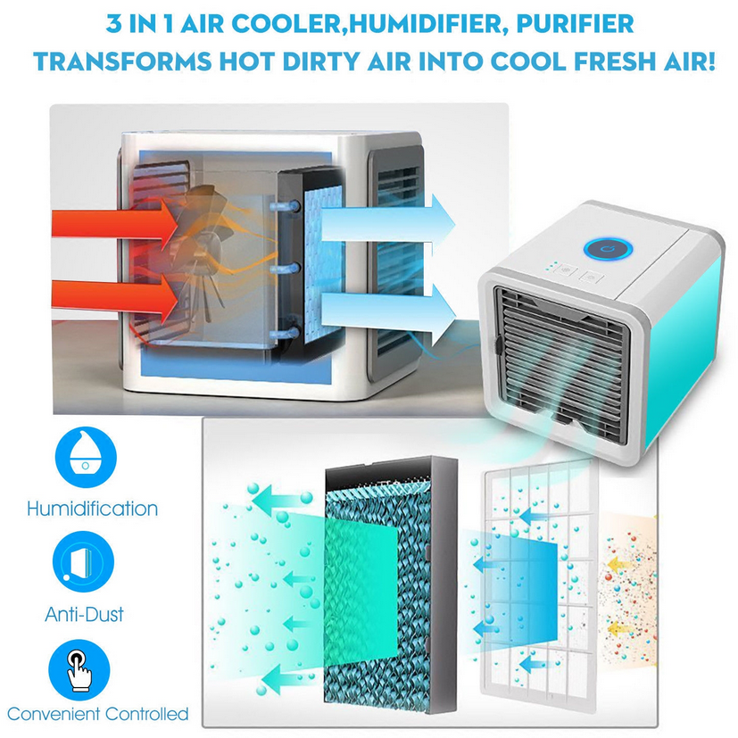 Air Conditioner USB Mini Cooling Fan With 7 Colors LED 4