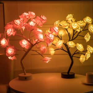 LED Table Lamp Rose Flower Tree USB Night Lights Christmas Decorations For Home LED Table Lights Home Party Decoration