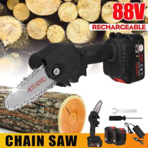88V Rechargeable Cordless Electric Saw Portable Woodworking Chainsaw Mini Chain Saw Pruning Saw Cutting Tool With 2 Battery