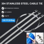 100Pcs Stainless Steel Cable Ties 4.6mm Heavy Duty 3